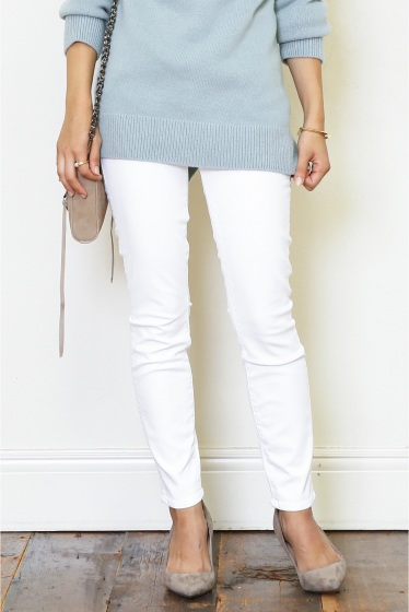 �ɥ����������� ���饹 MOTHER WHITE SKINNY�� �ۥ磻��