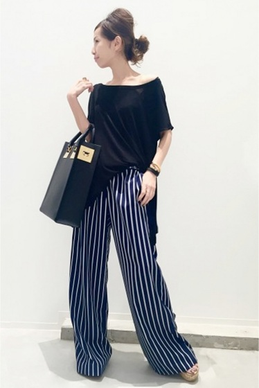 ���ѥ�ȥ�� �ɥ����������� ���饹 stripe wide pants�� �ܺٲ���13