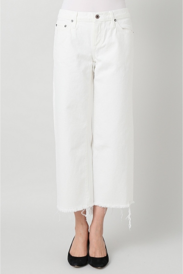 ���ѥ�ȥ�� �ɥ����������� ���饹 ��SIMON MILLER Cropped Flare White Denim �ۥ磻��