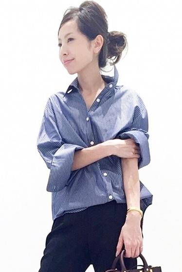 ���ѥ�ȥ�� �ɥ����������� ���饹 Stripe Wide Sleeve Shirt�� �ͥ��ӡ�