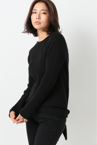 ���㡼�ʥ륹��������� ��AERON /�������� banded knit top:�˥åȥץ륪���С� �֥�å�