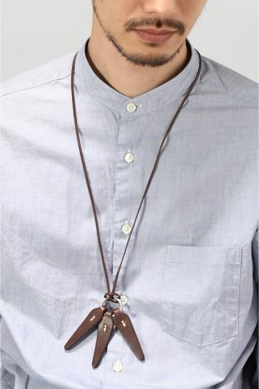 ���㡼�ʥ륹��������� HOBO / �ۡ��ܡ� : Shade Leather Leaves Necklace �֥饦��