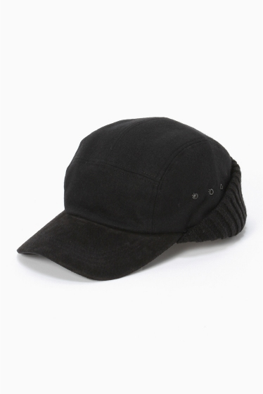 ���ƥ�����å� soe shirts EarMuffWoolCap �֥�å�
